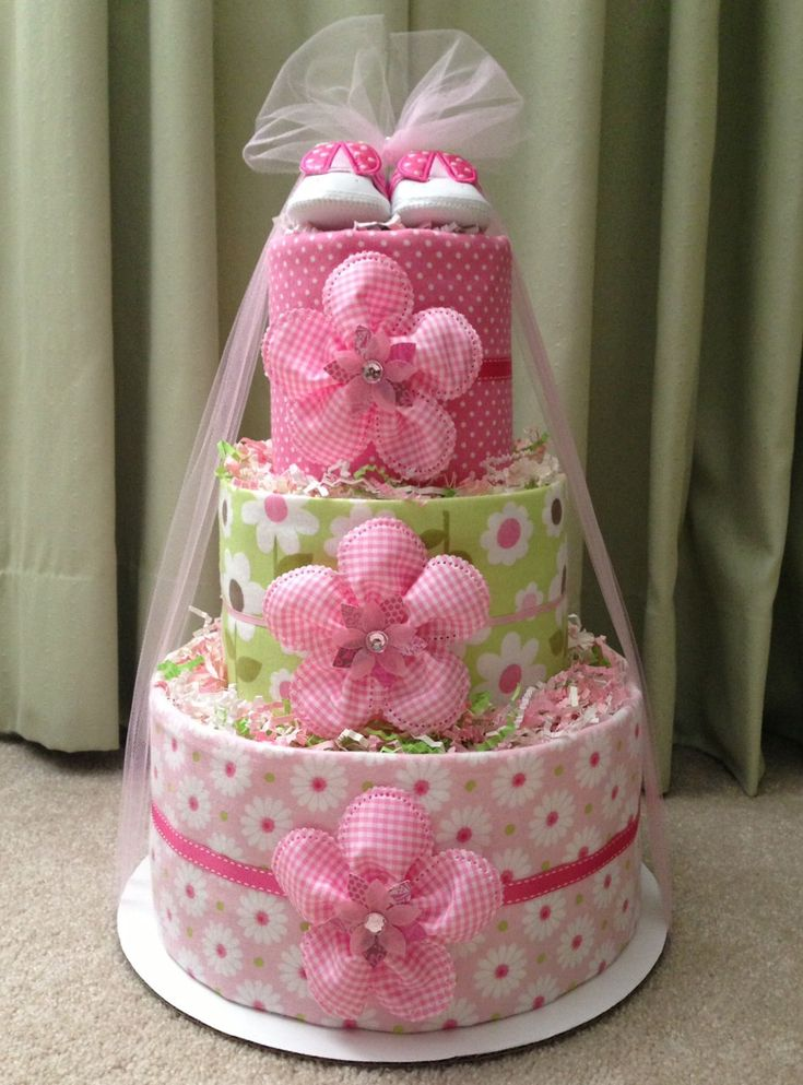 Burlap and lace pink diaper cake for baby girl baby for Pink diaper bouquet