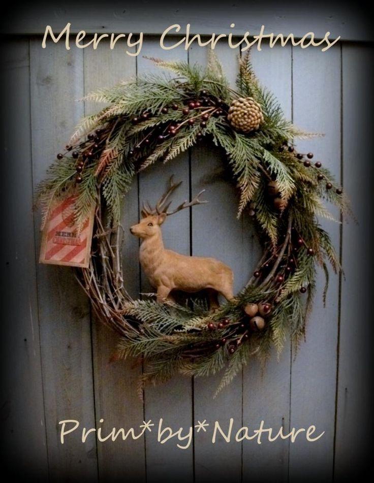 Primitive Reindeer Christmas Wreath Pine Cones Red Berries and Rusty Bells