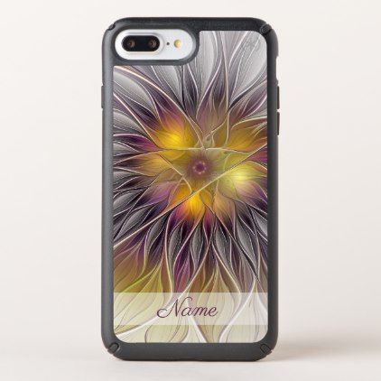 Luminous Colorful Flower Modern Fractal Name Speck iPhone Case - individual customized designs custom gift ideas diy