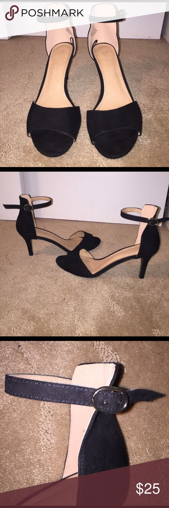 H&M Black Peep Toe Heels Suede Black Heels with adjustable strap (pictured) in great condition!! H&M Shoes Heels