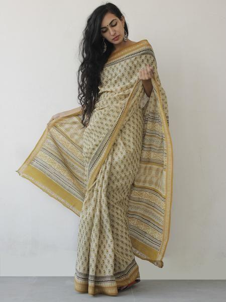 Beige Mustard Black Khadi Hand Block Printed Saree in Natural Dyes - S031702479