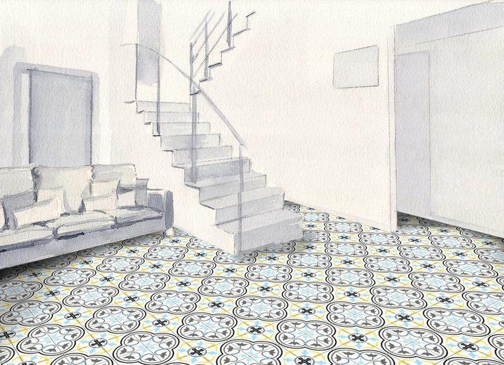 24 best carreaux de ciment images on pinterest bathroom cement tiles and bathrooms. Black Bedroom Furniture Sets. Home Design Ideas