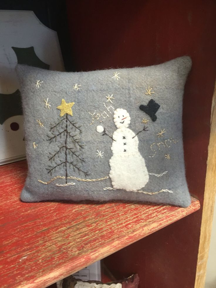 """Wool pillow. """"Hats off to winter"""""""