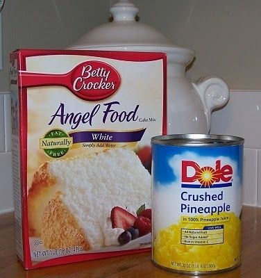 ANGEL FOOD PINEAPPLE CAKE   1 can of crushed pinapple   1 box angelfood cakemix (1 step kind)  Mix these ingredients together and bake in an oblong cake pan at 325 degrees for about 25 to 30 min.  Honest, it is that easy, no fat, very low calories, and tastes great.   Variations: try using Cherry Pie Filling  Try as base, add fresh strawberries and whip topping. by mmonet