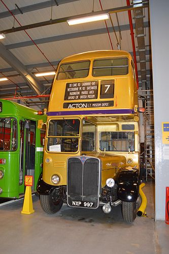 RT4712, one of two RTs preserved at the London Transport Museum, currently repainted into a temporary gold commemorative livery.