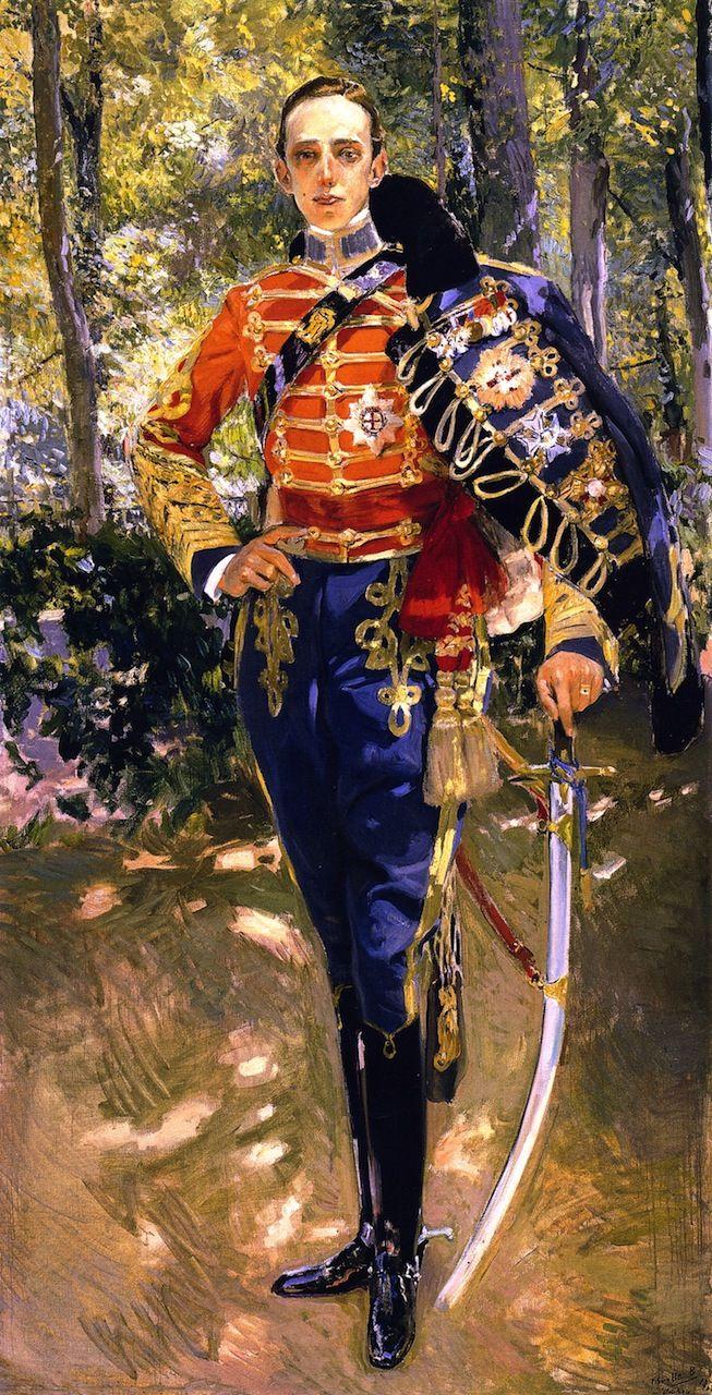 Retrato deJoaquin Sorollaal ReyDon Alfonso XIIIcon el uniforme de húsares.