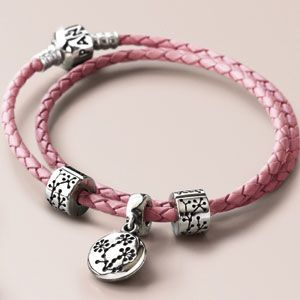 Pandora bracelet to support breast cancer research. You can engrave inside the edelweiss dangle