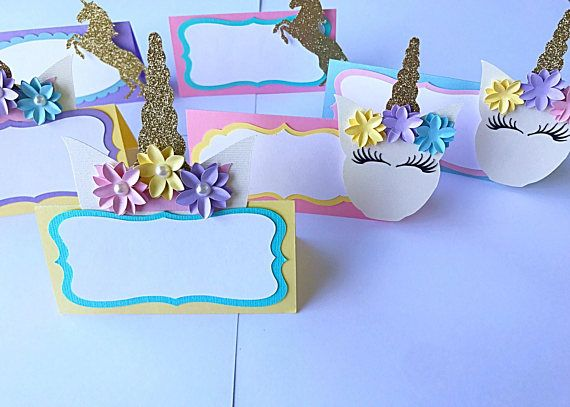 Thank you for viewing my shop :) This listing is for Unicorn themed table tents/food labels. These are so cute and the detail is amazing! Measuring 2x2 when folded. Colors include light pink, teal, yellow,lavender, teal and gold glitter. 2 of each included in a pack of 6 - 2