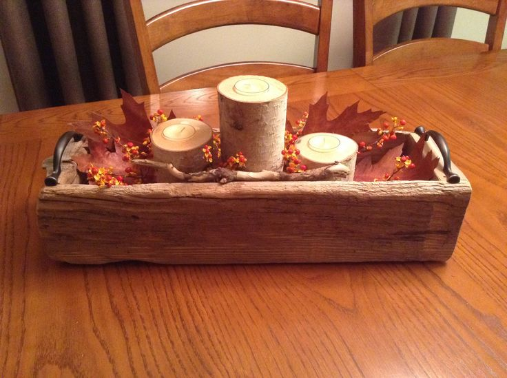 DIY driftwood box with birch log candles.