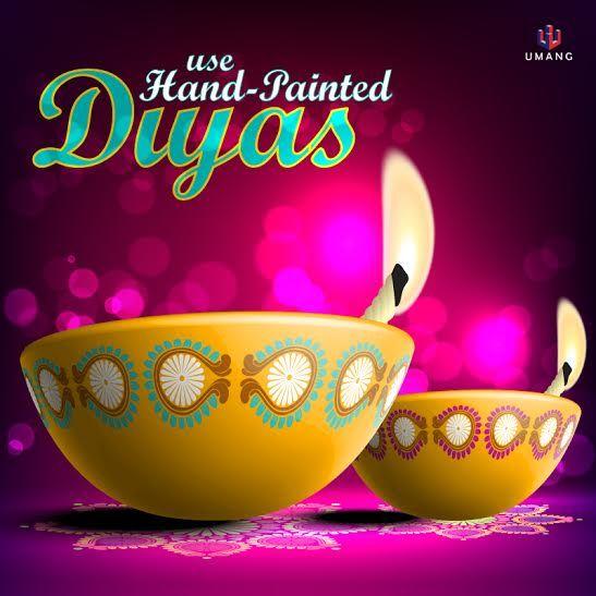 Tip1: Use hand painted diyas to bring a sense of freshness & festivity. #HomeDecor #DiwaliDecoration