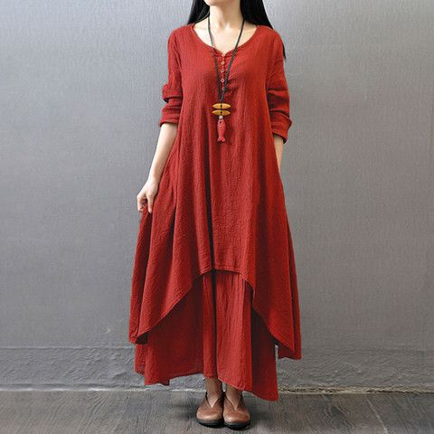 Red Long Sleeve Maxi Linen Dress