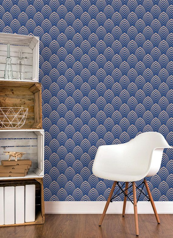 Temporary Removable Art Deco Wallpaper With Geometric Classic Etsy Art Deco Wallpaper Wall Coverings Self Adhesive Wallpaper