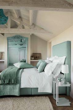 Sea green bedroom (note headboard)