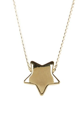 Image of  14K Yellow Gold Puff Star Pendant Necklace