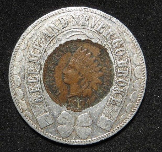 St Louis World S Fair Good Luck Token With 1904 Indian Head Penny World S Fair Old Coins
