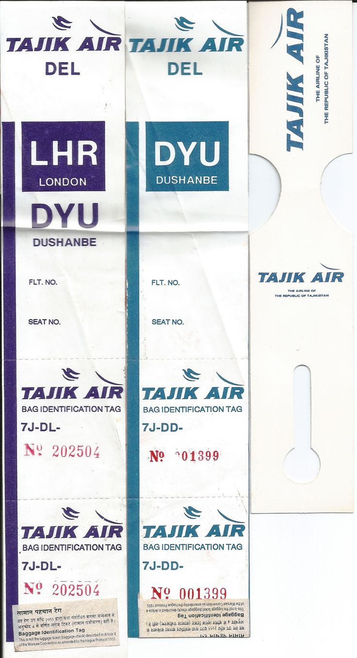 Luggage tags of Tajik Air, the national airline of the Republic of Tajikistan from its short-lived operation (Dec 93-Feb 94) between London and Dushanbe, Tajikistan.