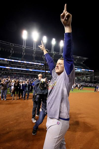 Anthony Rizzo #44 of the Chicago Cubs celebrates after defeating the Cleveland Indians 8-7 in Game Seven of the 2016 World Series at Progressive Field on November 2, 2016 in Cleveland, Ohio. The Cubs win their first World Series in 108 years.