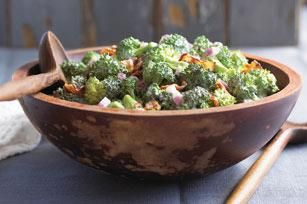 Tangy Broccoli Salad recipe -Here's a broccoli salad that's sure to please everyone, with a sweet and tangy dressing and bits of crumbled bacon.