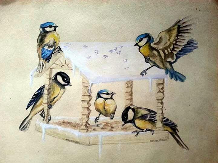 Cinegék bird painting by Gábor Emese www.gaboremese.hu