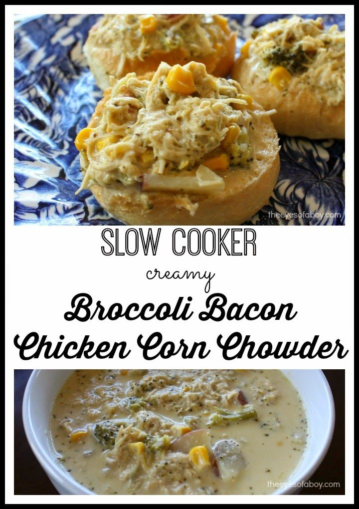 SLOW COOKER crock pot soup with chicken broccoli and bacon - this is so delicious and the best corn chowder recipe for a crockpot YUMMY!