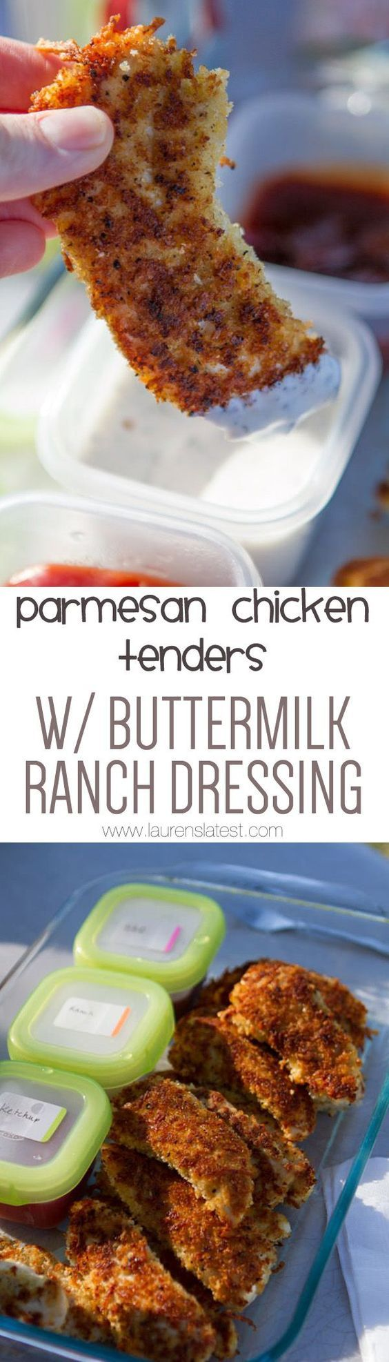 Parmesan-Crusted Chicken Tenders with Buttermilk Ranch Dressing
