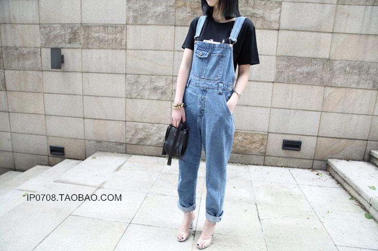 Ветер свет синий деним комбинезоны нейтральные бойфрендом брюки комбинезоны базовых моделей Сиамская Самка - Taobao