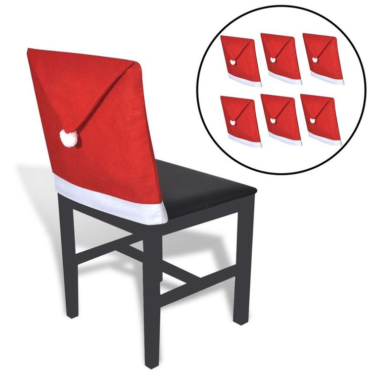 Christmas Chair Covers 6 Santa Claus Hat Chair Back Covers Christmas Dinners