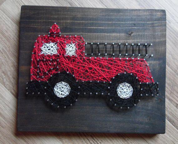 Firetruck String Art https://www.etsy.com/listing/399173765/fire-truck-string-art-nursery-string-art