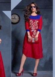 Casual Wear Cotton Red Embroidered Work Kurti