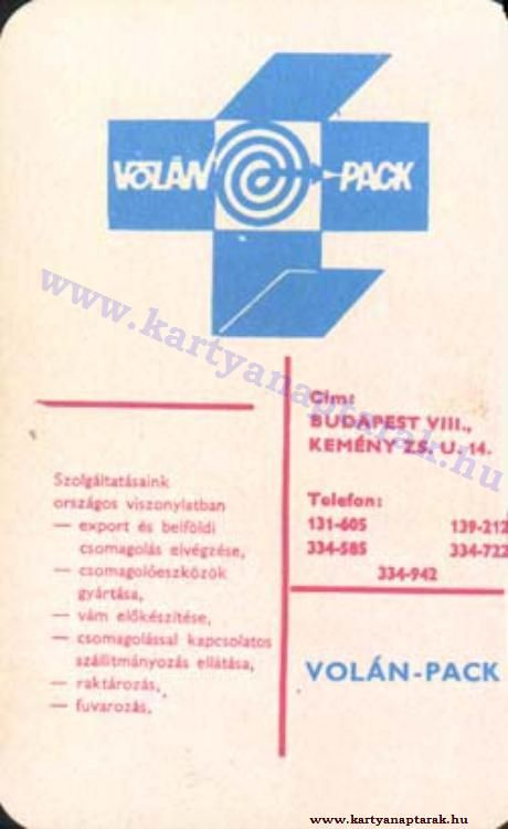 1972 - 1972_0614 - Régi magyar kártyanaptárak