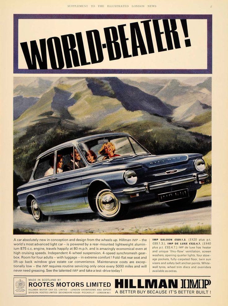 1964 Ad Hillman Imp Saloon Blue British Car Rootes UK - ORIGINAL ADVERTISING LN1