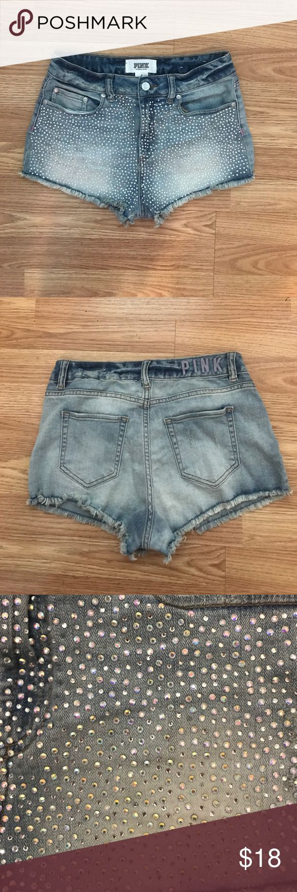 High Waisted Denim Sparkle Shorts High waisted, sparkly short shorts from VS Pink. Fits a 4/6. PINK Victoria's Secret Shorts Jean Shorts