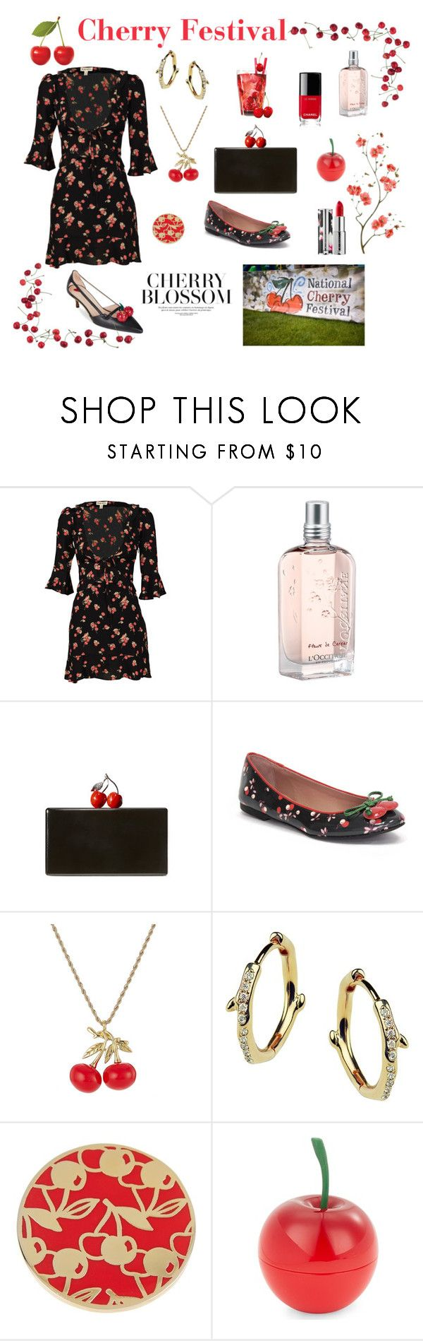 """Cherry Inspired"" by marnie1979 ❤ liked on Polyvore featuring For Love & Lemons, L'Occitane, Edie Parker, Valentino, Kenneth Jay Lane, Shaun Leane, Ariella Collection, Tony Moly and Chanel"