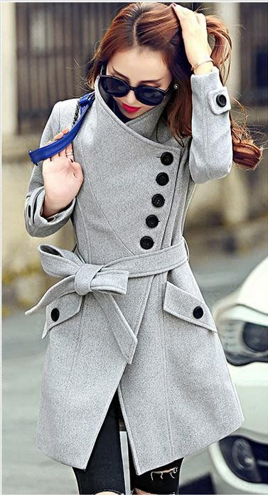 Irregular Slim Belt Stand Collar Woolen Coat - Meet Yours Fashion - 1