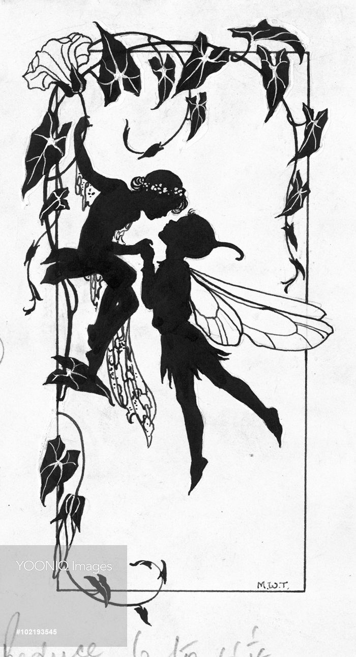 39 the kiss 39 two fairies silhouette stencils pinte for Fairy cut out template