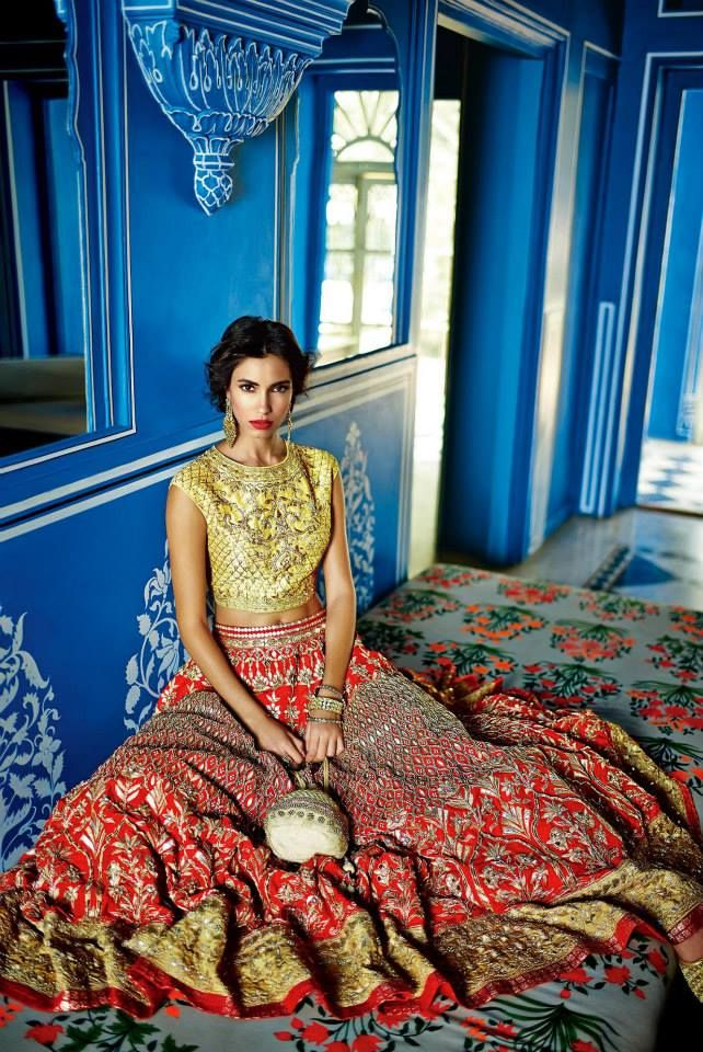 Anita Dongre Festive 2014 collection gold and red lengha