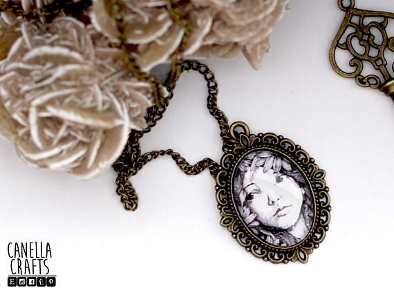 Portrait with flowers vintage cameo pendant illustration