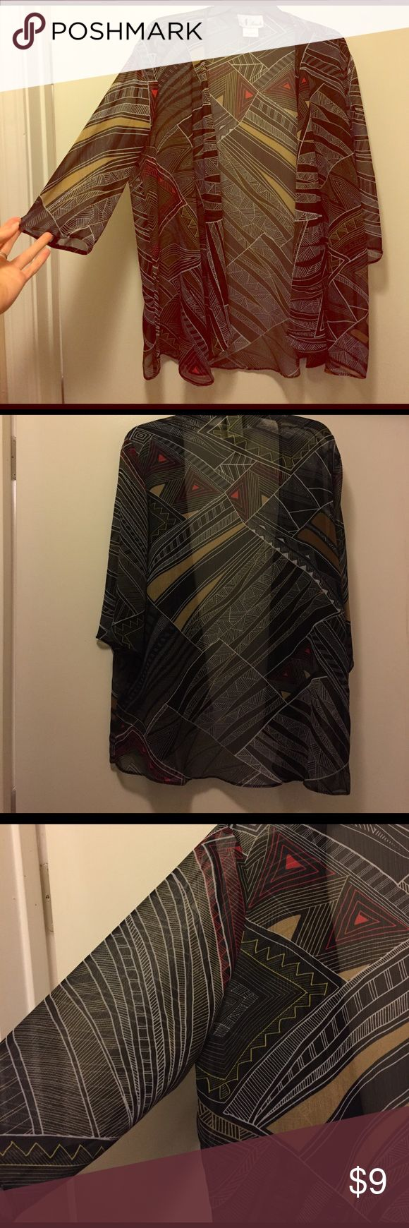 Sheer tribal cardigan/ kimono Sheer kimono or cardigan. Great for spring and summer weather. Make an offer! N touch Sweaters Shrugs & Ponchos