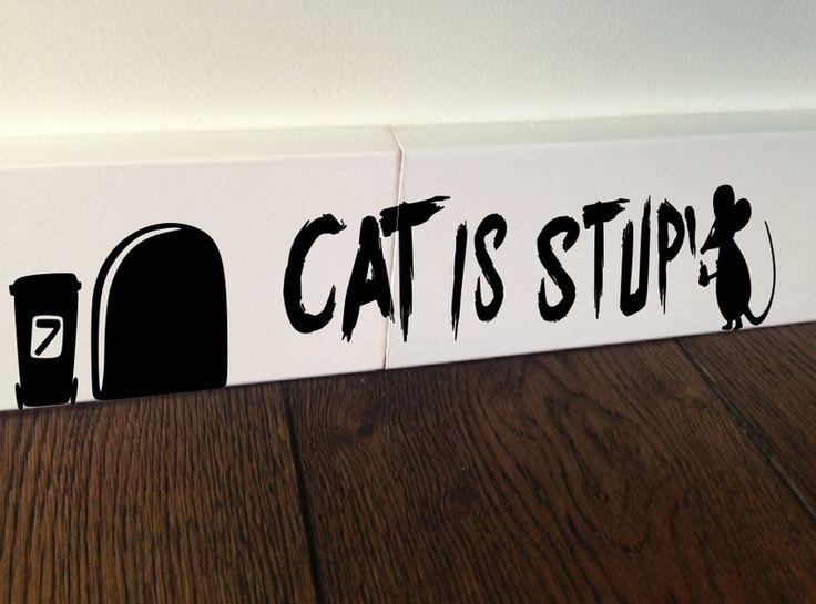MOUSE Cat Is Stupid funny sticker wall art decal de stickersshop sur DaWanda.com