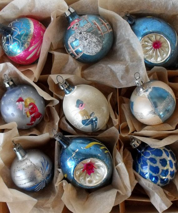 9 vintage glass Christmas ornaments in blue, some handpainted, some indents, all made in Poland
