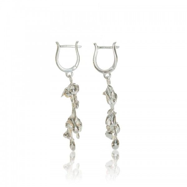 Water casted contemporary silver earrings, part of the Organic collection