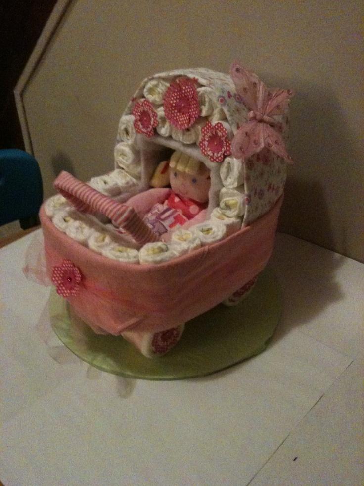 Baby Buggy Diaper Cake Diaper Cakes I Made Pinterest