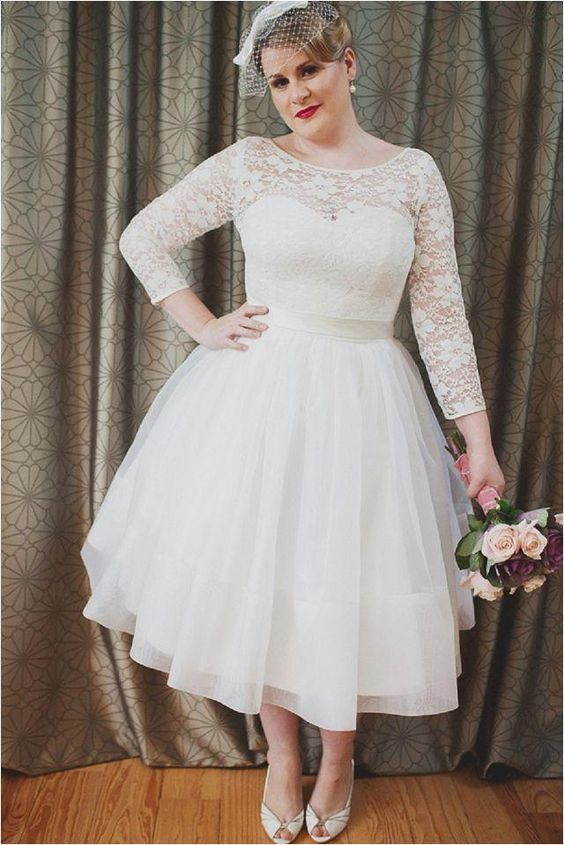 long sleeves plus size wedding dresses tea length,short lace tulle plus size bridal gown 18w,20w,22w. $129