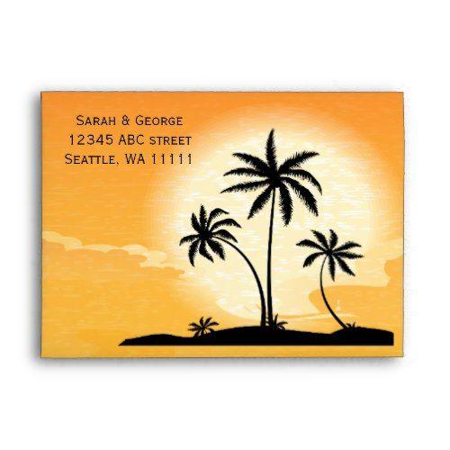 sunset palm trees 5x7 envelopes