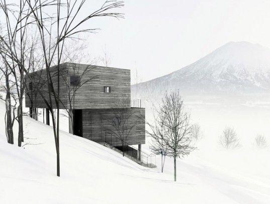 mount yotei, florian busch architects, l house, niseko, hokkaido, escarpment, retaining walls, panoramic views, cantilevered stairs, holiday...