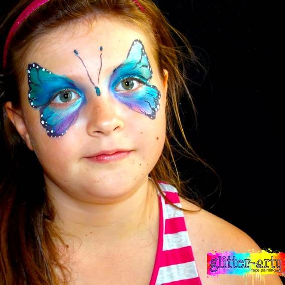 Delicate butterfly face painting by Glitter-Arty, Bedford, Bedfordshire