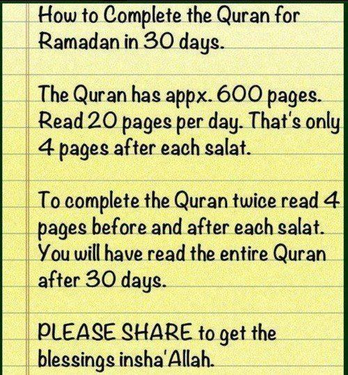 How to finish reading the Quran in 30 days!!!!