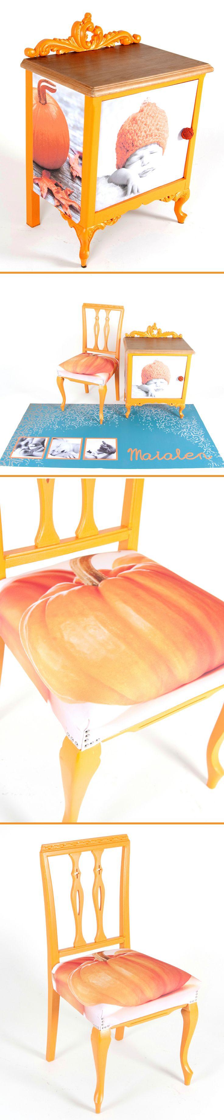 Reciclaje de mobiliario. Lijado pintado y encerado para la mesita. Decorado con vinilos a juego. Lijado, pintado y tapizado para la silla y diseño fotografico personalizado en el suelo vinílico.