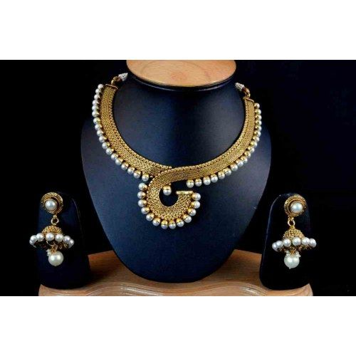 Beautiful Gold like Polki Set With White pearls POS287 - Necklaces by Vastradi