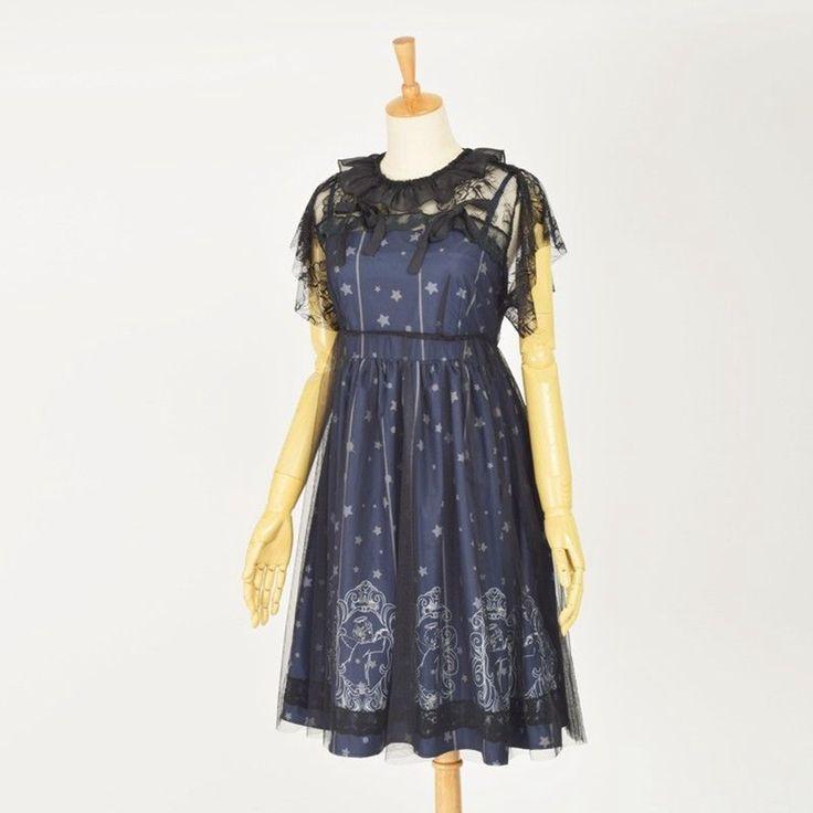 Симпатичные девушки темно синий Лолита платье Sky Созвездие Ночной Ангел Pattern Jsk Вуаль мундир с коротким рукавом платья купить на AliExpress